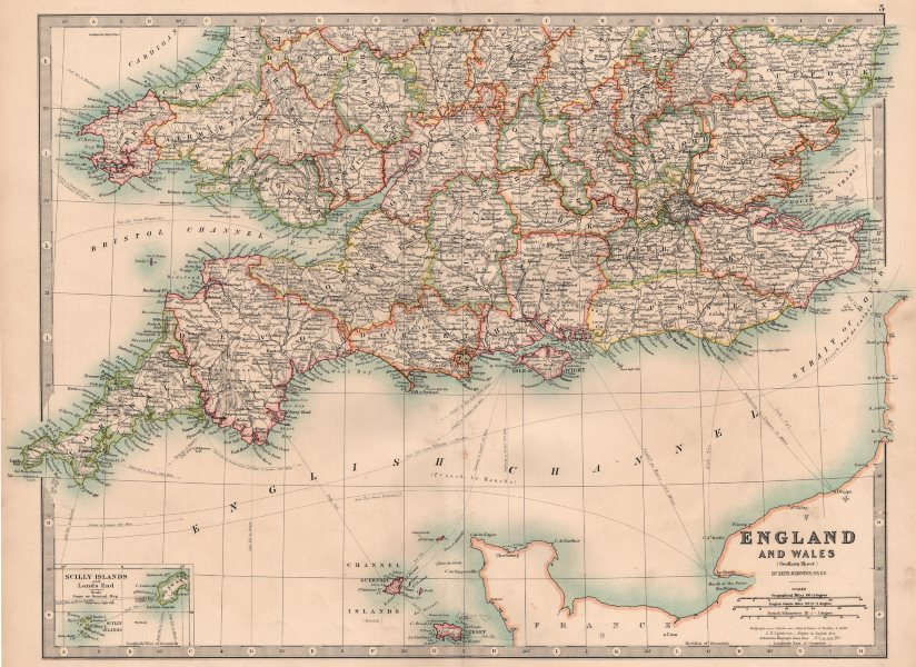 Associate Product ENGLAND & WALES SOUTH. Showing railways canals lightships. JOHNSTON 1906 map