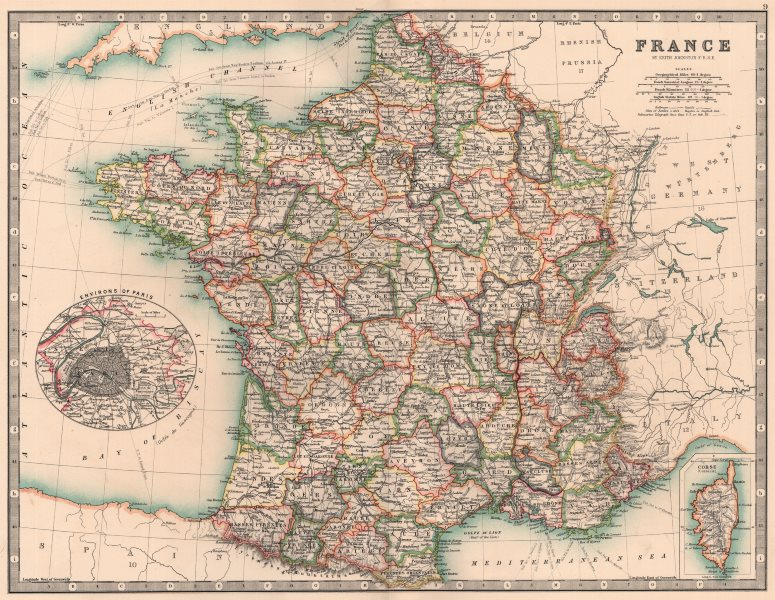 Associate Product FRANCE. In departements. Railways canals. JOHNSTON 1906 old antique map chart