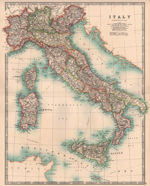 Associate Product ITALY. Showing regions railways canals Telegraph cables. JOHNSTON 1906 old map