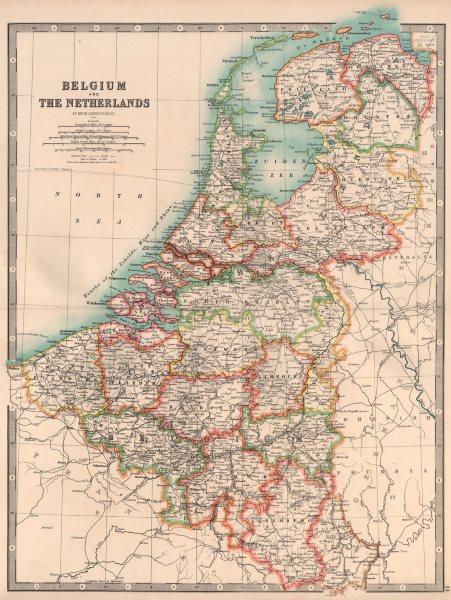Associate Product BENELUX. Belgium, Netherlands & Luxembourg. Railways & Canals. JOHNSTON 1906 map