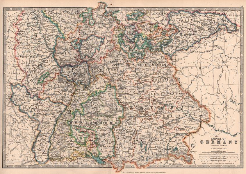 Associate Product GERMAN EMPIRE SOUTH. Bavaria Baden Wurttemberg.Alsace/Lorraine.JOHNSTON 1906 map