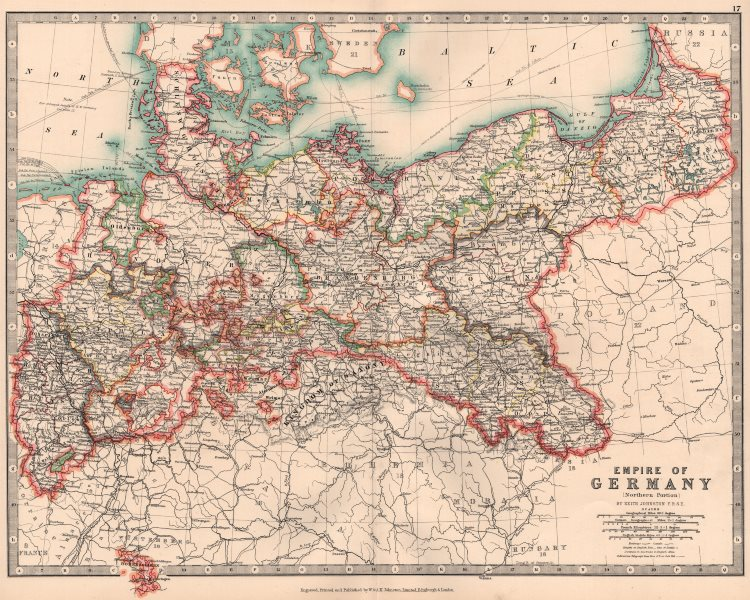 Associate Product GERMAN EMPIRE NORTH. Prussia &c. Railways Canals. JOHNSTON 1906 old map