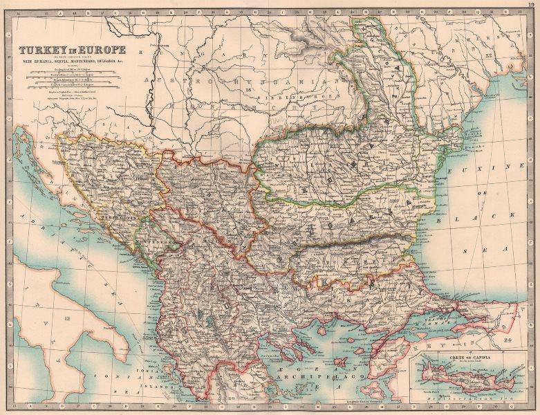 TURKEY IN EUROPE.Rumania Servia Montenegro Bulgaria. Balkans. JOHNSTON 1906 map