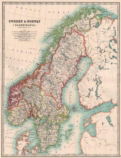 Associate Product SCANDINAVIA. Sweden & Norway. Railways & Canals. JOHNSTON 1906 old antique map