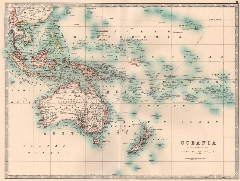 Associate Product COLONIAL OCEANIA. Australasia Pacific British Dutch French US. JOHNSTON 1906 map