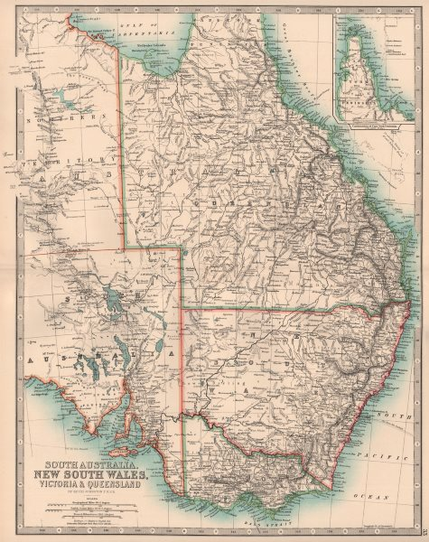 Associate Product EASTERN AUSTRALIA. South Australia NSW Victoria Queensland NT. JOHNSTON 1906 map