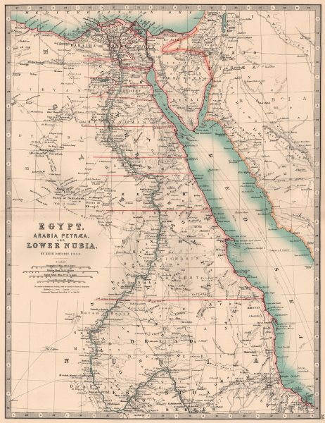 Associate Product NILE VALLEY. Egypt, Arabia Petraea and Lower Nubia. Divisions. JOHNSTON 1906 map