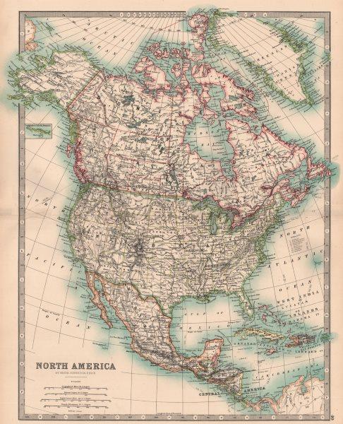 Associate Product NORTH AMERICA. United States Canada Mexico Central America. JOHNSTON 1906 map