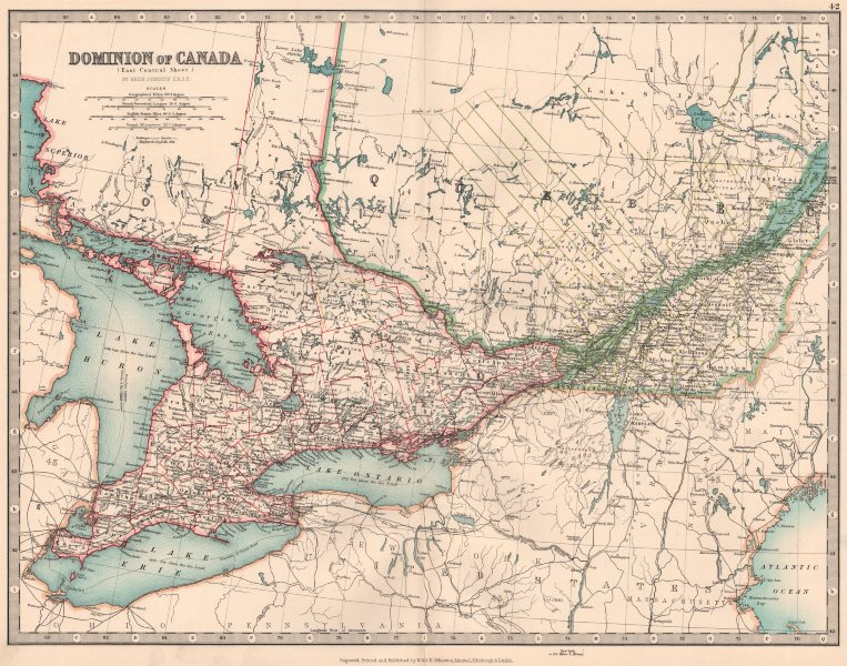 Associate Product CANADA. Ontario & Quebec showing counties. JOHNSTON 1906 old antique map chart