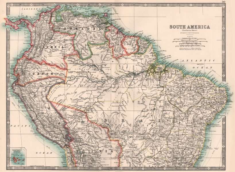 Associate Product SOUTH AMERICA NORTHERN.Brazil Peru Ecuador Colombia Venezuela.JOHNSTON 1906 map