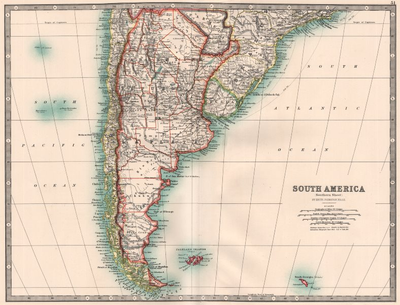 SOUTH AMERICA SOUTHERN. Chile Argentina Paraguay Uruguay. JOHNSTON 1906 map