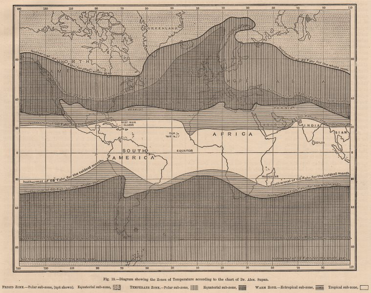 Associate Product WORLD CLIMATE. Temperature zones according Supan. Temperate Ectropical 1882 map