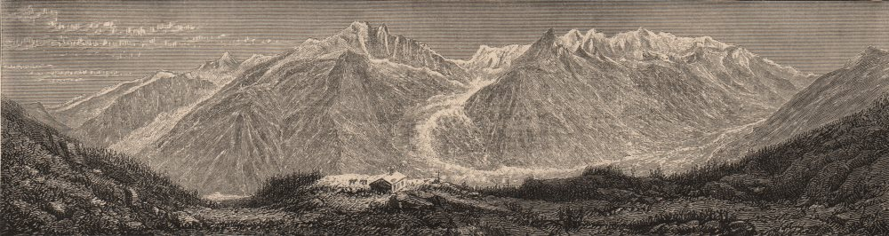 HAUTE-SAVOIE. The Chain of Mont Blanc as seen from the Flegère 1882 old print