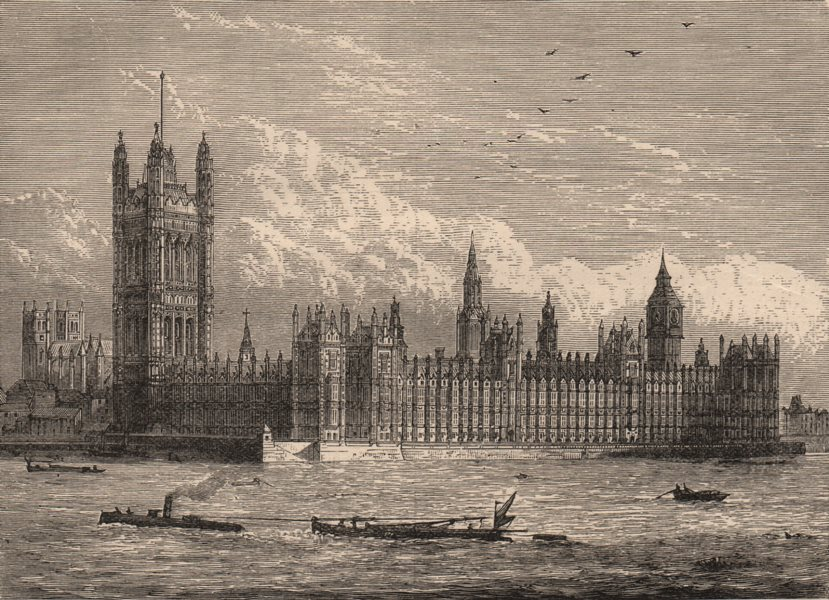 LONDON. The Houses of Parliament and Westminster Abbey, from the Thames 1882