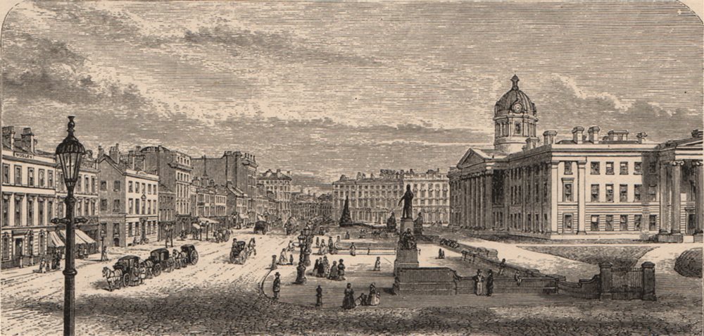 Associate Product MANCHESTER. Piccadilly with the Royal Infirmary 1882 old antique print picture