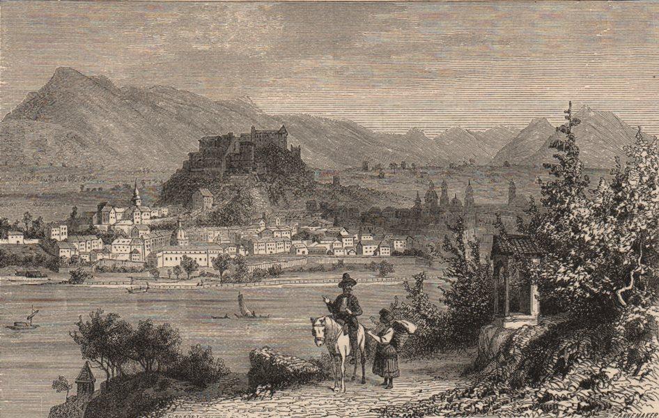 Associate Product SALZBURG. View of the city. Austria 1882 old antique vintage print picture