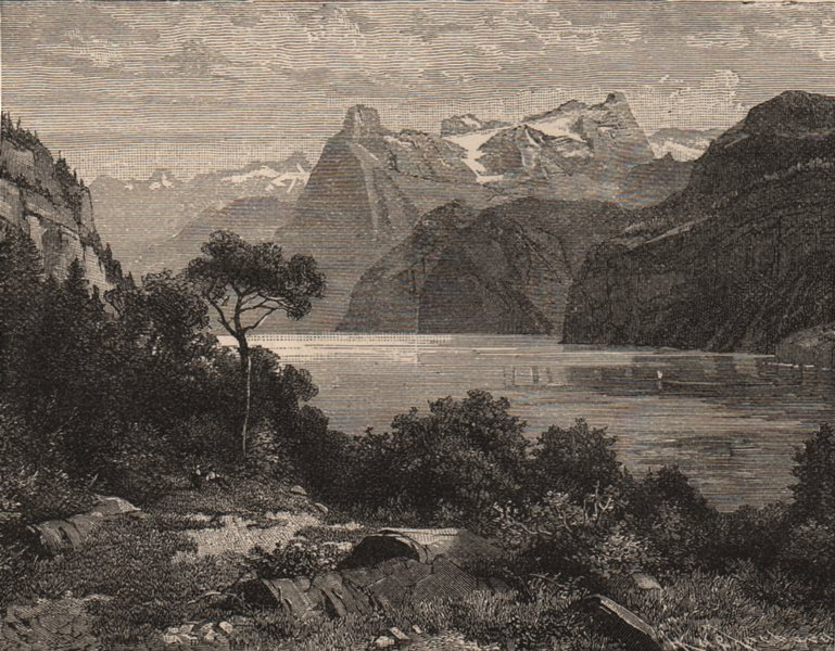 Associate Product SWITZERLAND. The Urirothstock and Bay of Uri 1882 old antique print picture