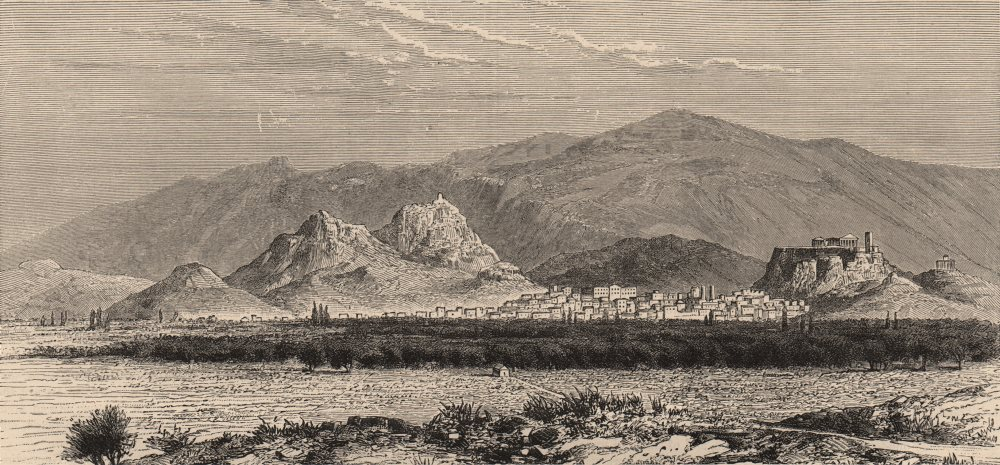 Associate Product GREECE. Athens and Mount Hymettus, from Mount St. Elias 1882 old antique print