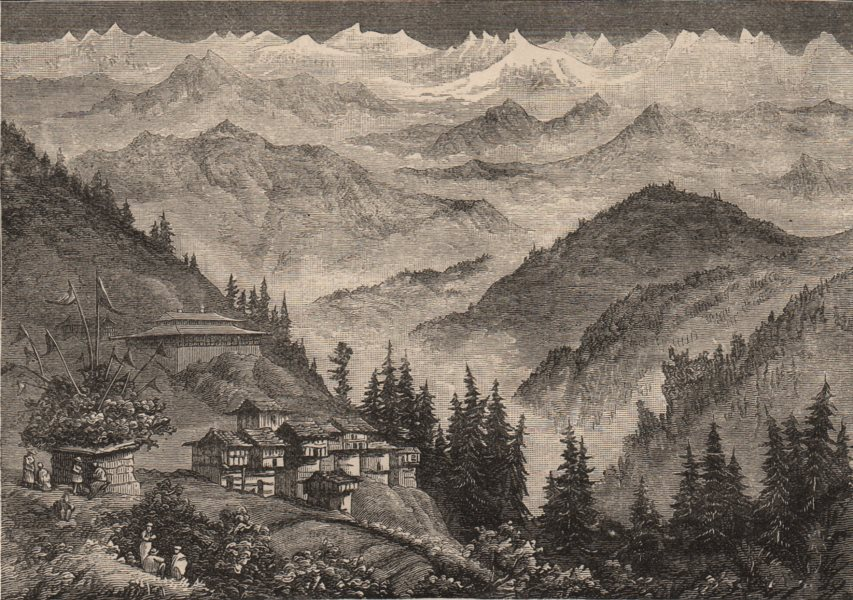 Associate Product INDIA. The Snowy range from the neighbourhood of Shimla 1882 old antique print