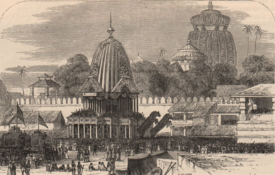 Associate Product INDIA. The Car and procession of Jagganath 1882 old antique print picture
