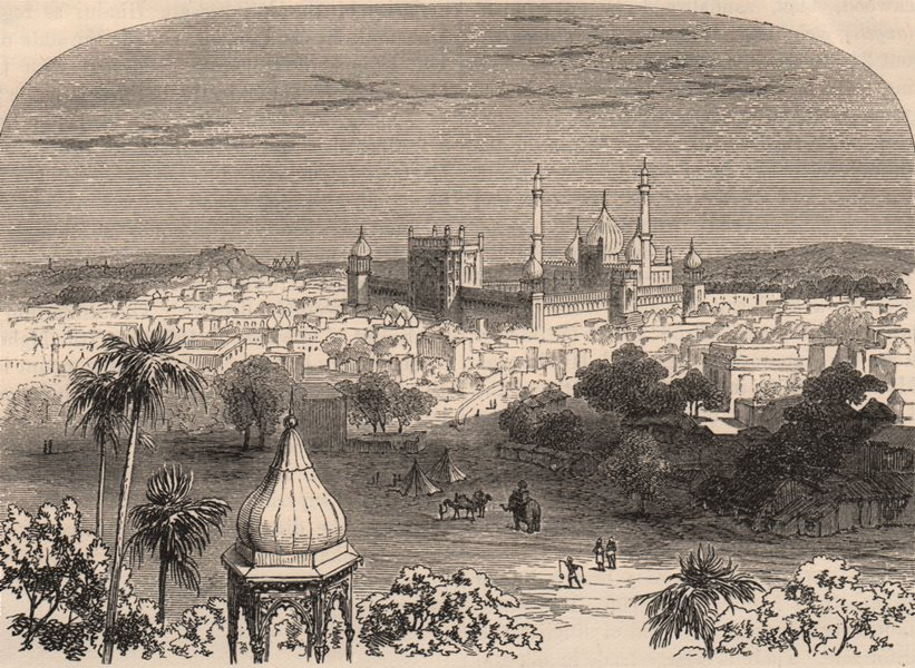 Associate Product DELHI. View of the city with the Jama Masjid (Great Mosque)  1882 old print