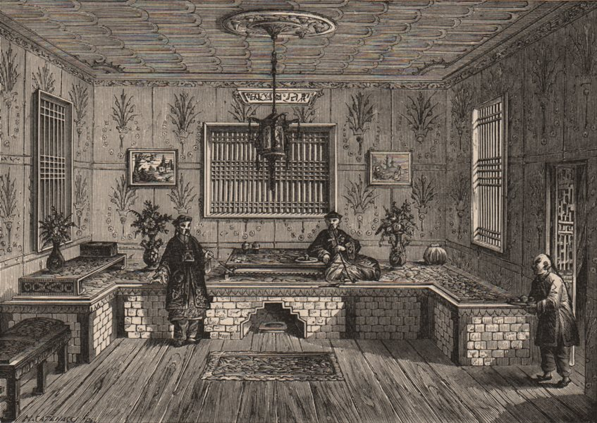 PEKING BEIJING. Room in a Chinese House. China 1882 old antique print picture
