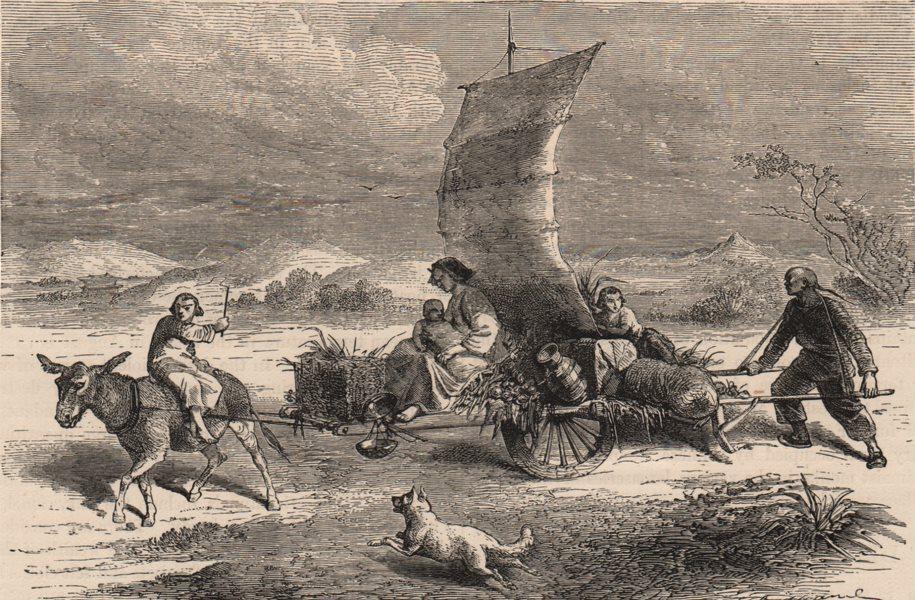 CHINA. A Sail-cart, used in Northern China and Southern Mongolia 1882 print