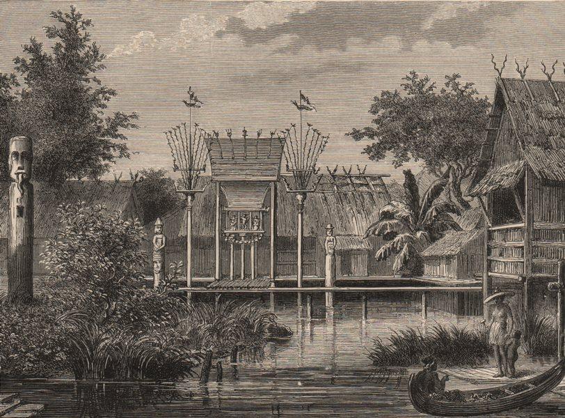 BORNEO. A Village in Borneo 1882 old antique vintage print picture