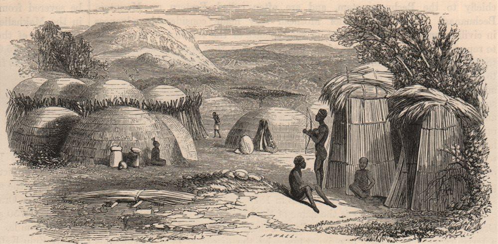 Associate Product SOUTH AFRICA. A Kaffir Kraal 1882 old antique vintage print picture