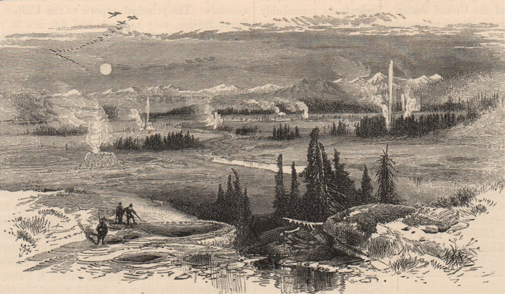 Associate Product YELLOWSTONE. The great Geyser Basin. Wyoming 1882 old antique print picture