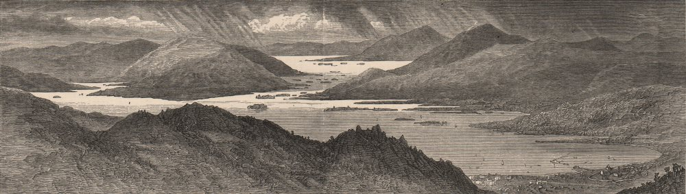 Associate Product LAKE GEORGE. from Prospect Mount. New York State 1882 old antique print