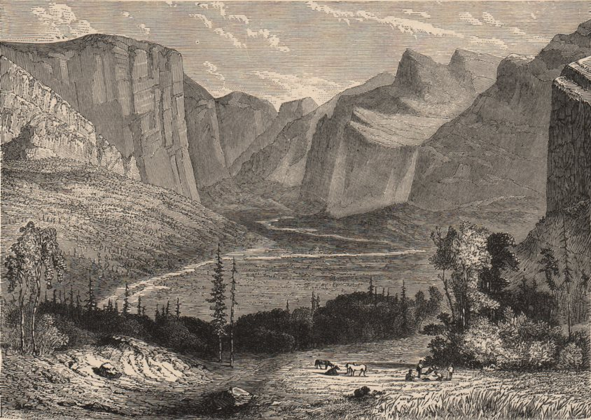 CALIFORNIA. The Yosemite Valley 1882 old antique vintage print picture