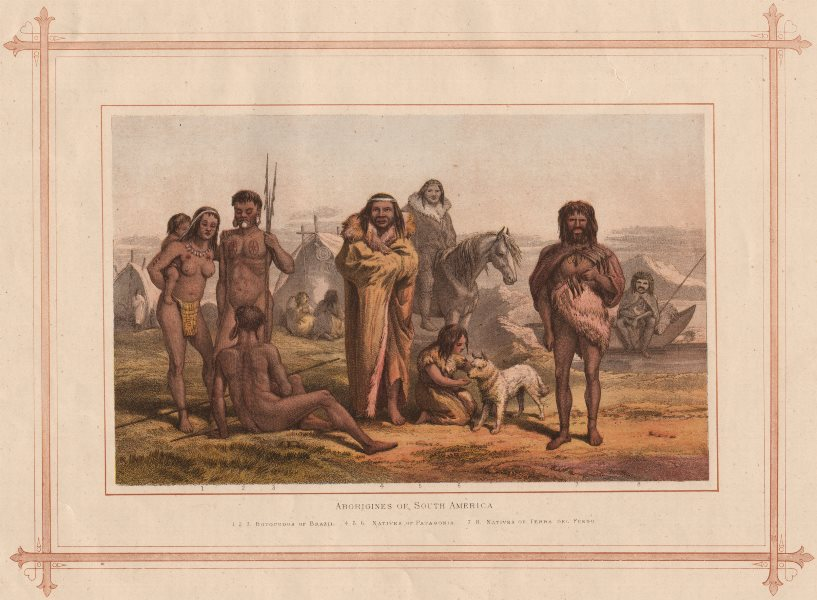 ABORIGINES OF SOUTH AMERICA. Botocudos Brazil Patagonia Tierra del Fuego 1882