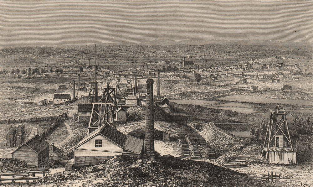 Associate Product VICTORIA. Sandhurst, centre of Quartz-reef Gold-mining. Australia 1882 print
