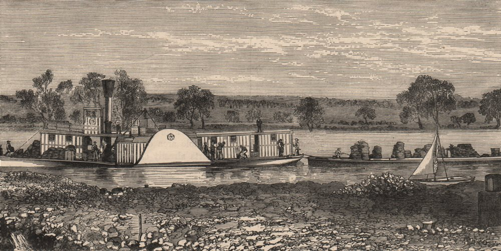 SOUTH AUSTRALIA. View on the Murray 1882 old antique vintage print picture