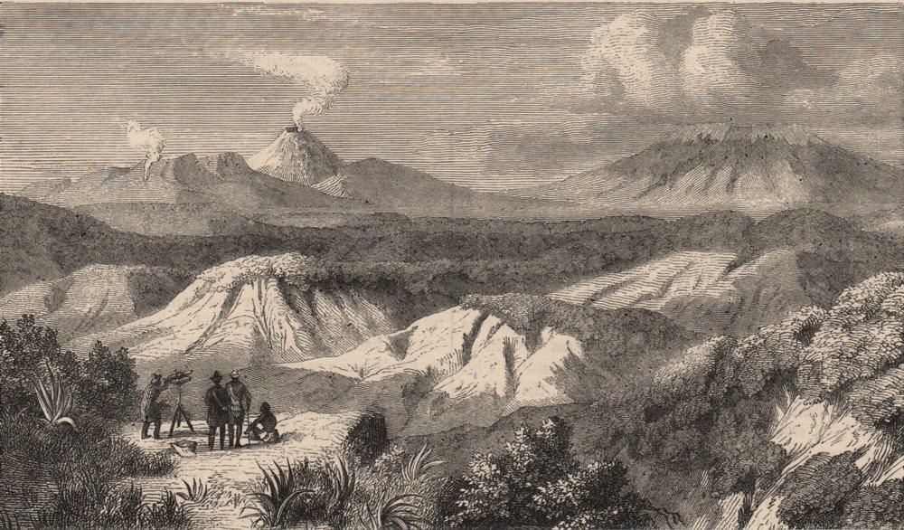 Associate Product NEW ZEALAND. Tongariro & Ruapehu volcanoes, south-east from Mt. Ngariha 1882