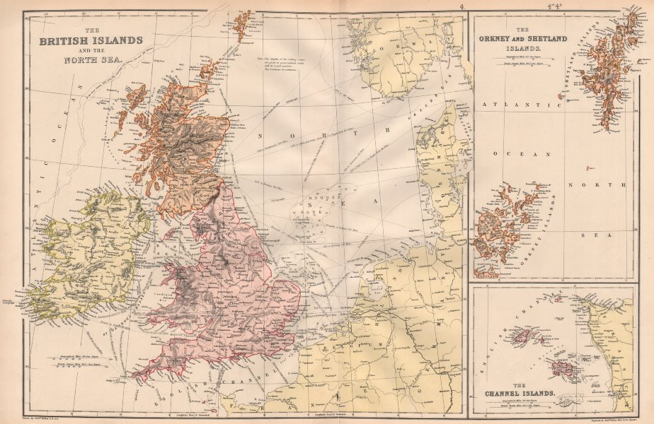 BRITISH ISLES & NORTH SEA. Dogger bank. Ocean depths. Shipping routes 1882 map