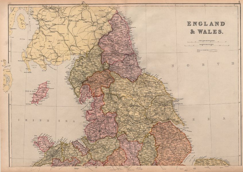 Associate Product ENGLAND AND WALES NORTH. Counties & railways. Westmoreland. BLACKIE 1882 map