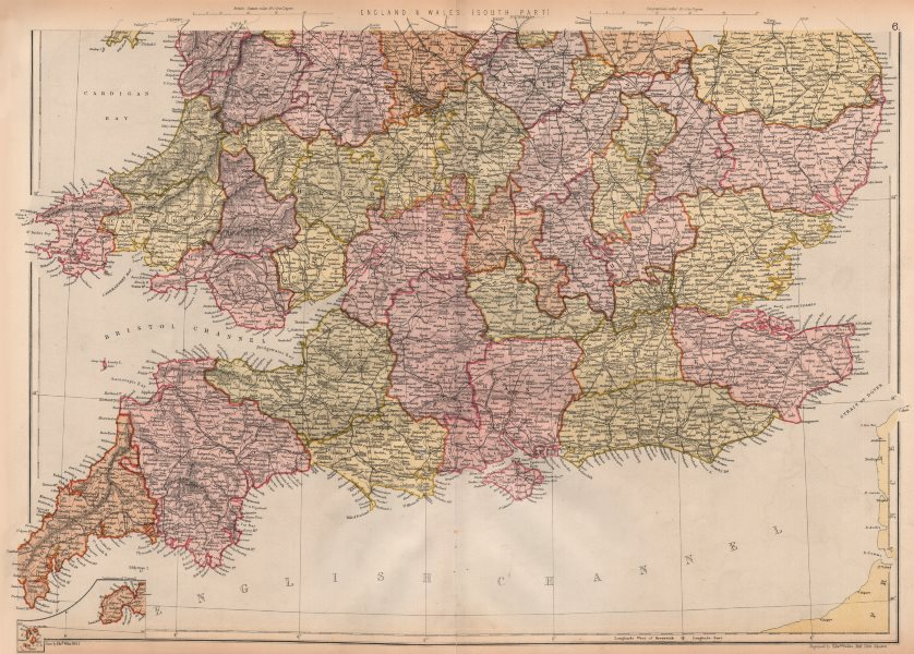 Associate Product ENGLAND AND WALES SOUTH. Showing counties & railways. BLACKIE 1882 old map
