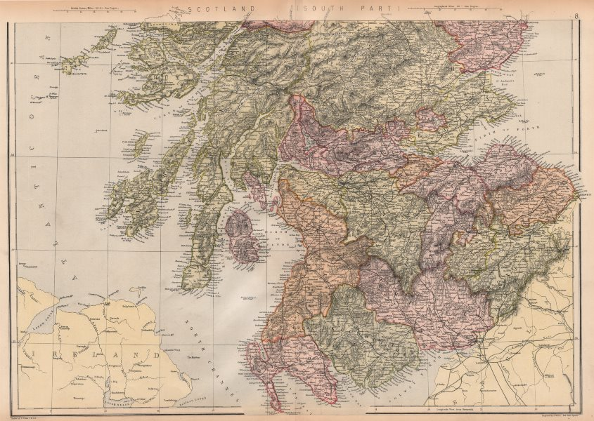 Associate Product SCOTLAND SOUTH. Showing counties & railways. BLACKIE 1882 old antique map