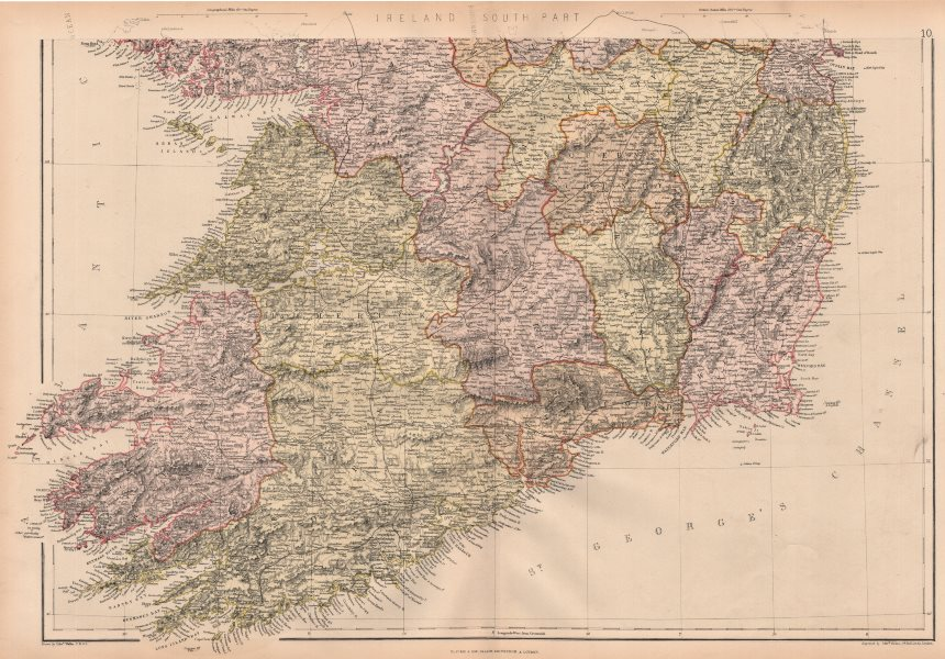 Associate Product IRELAND SOUTH. Munster &c. Counties & railways. BLACKIE 1882 old antique map