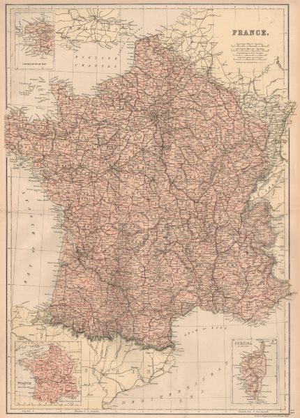 Associate Product FRANCE. Departements. Railways. Inset in Provinces. BLACKIE 1882 old map