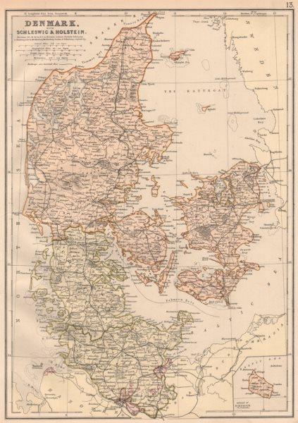 Associate Product DENMARK SCHLESWIG & HOLSTEIN. Railways. Scale in Danish miles. BLACKIE 1882 map