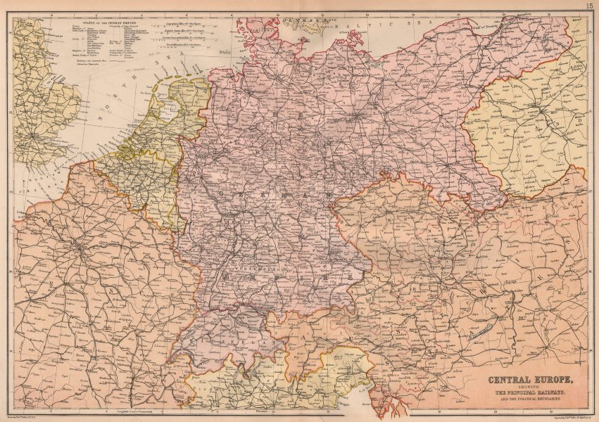 Associate Product CENTRAL EUROPE. Railways. Scale in German & English miles & km. BLACKIE 1882 map