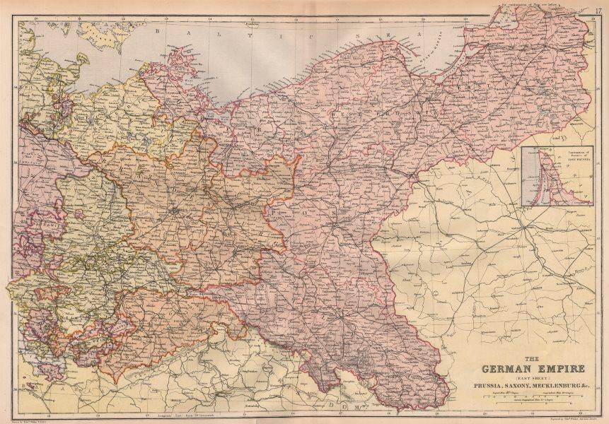Associate Product GERMAN EMPIRE EAST. Prussia Saxony Mecklenburg.Poland.Railways. BLACKIE 1882 map
