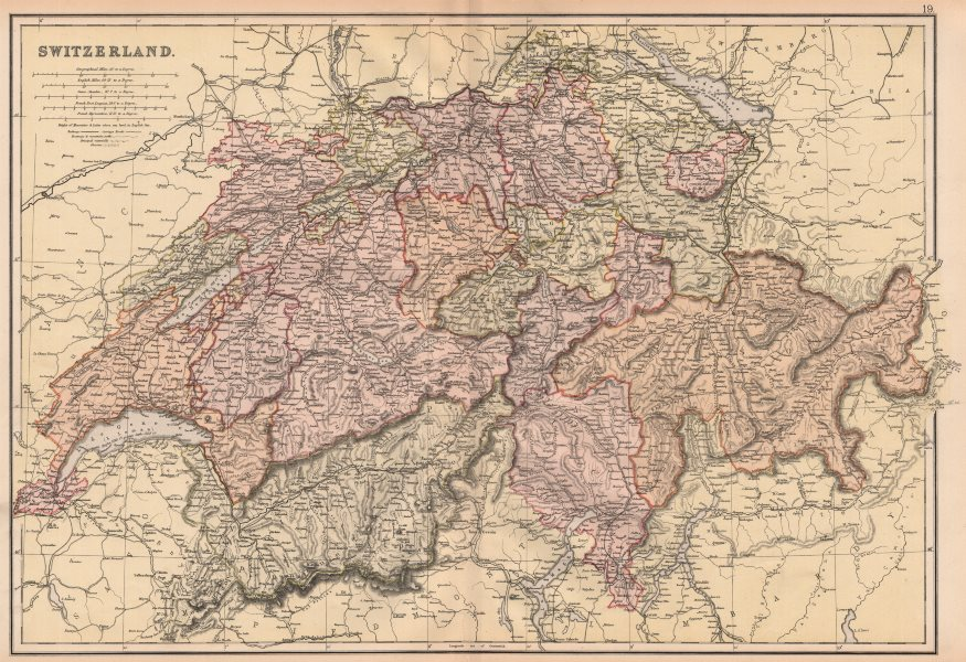 Associate Product SWITZERLAND. railways mountain paths waterfalls & glaciers. BLACKIE 1882 map