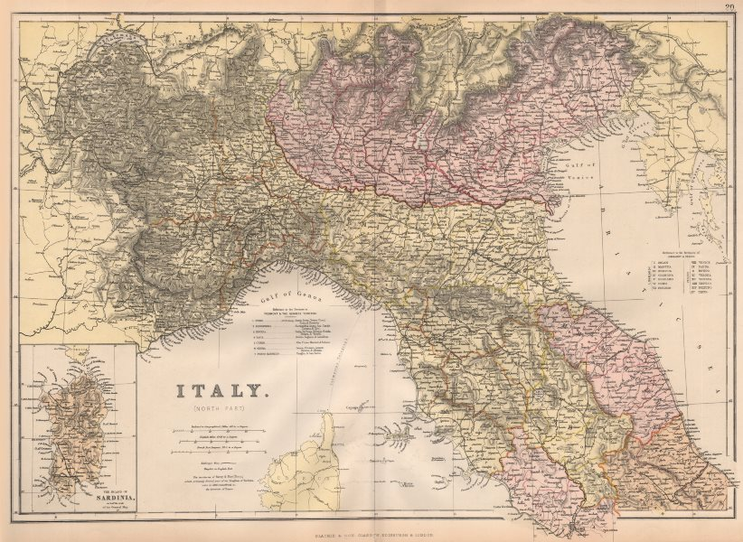 Associate Product ITALY NORTH. Showing provinces & railways. BLACKIE 1882 old antique map chart