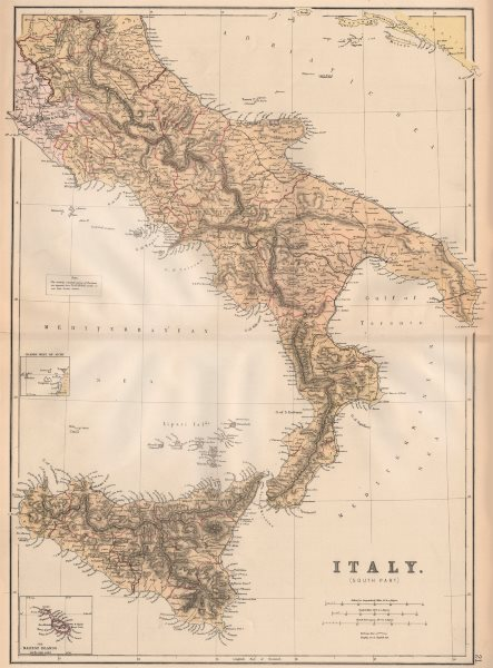 ITALY SOUTH. showing new/old province names & railways. BLACKIE 1882 map