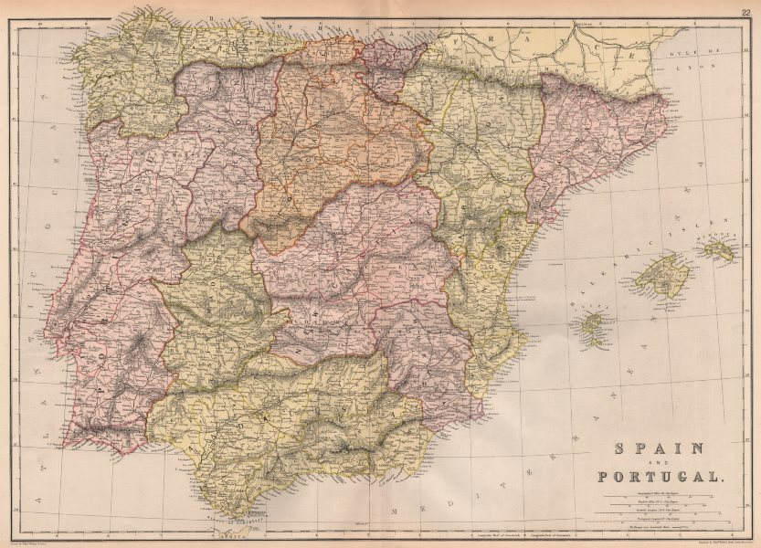 Associate Product IBERIA. Spain Portugal Provinces.Scale in Spanish & Portuguese leagues 1882 map