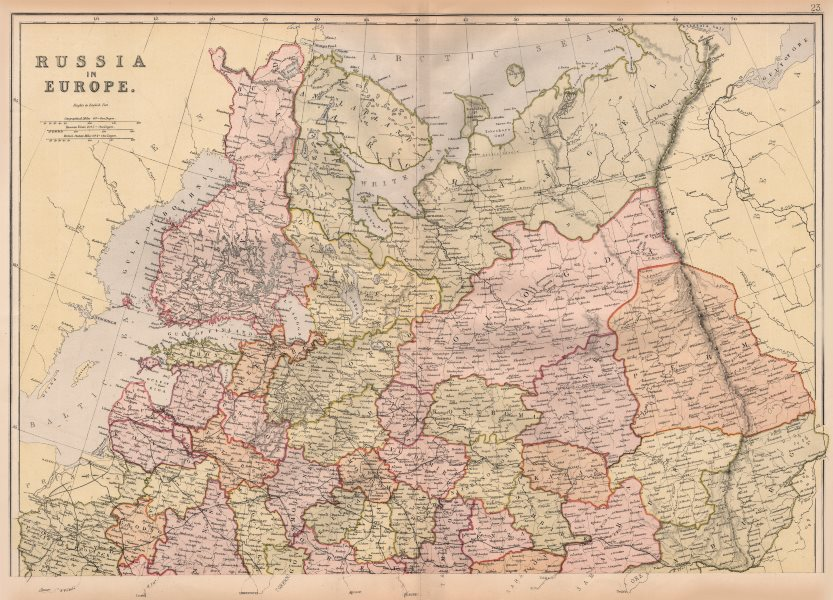 Associate Product RUSSIA IN EUROPE NORTH. Showing Oblasts. Scale in Versts. BLACKIE 1882 old map